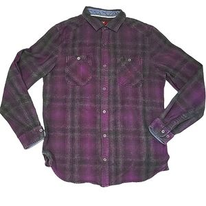 DH3 Unisex Purple & White Plaid Button Up Shirt